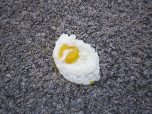 fried egg on pavement heat wave