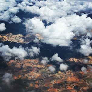 Aerial photo of forest destruction from illegal gold mining