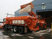 A DSNY spreader is loaded with salt at one of the city's 42 salt sheds.