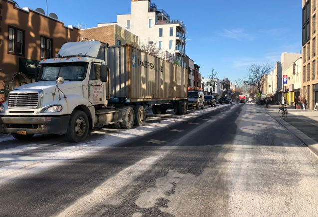 Metropolitan Ave, a high traffic truck route in Brooklyn, was inexplicably heavily salted on December 5, 2018. Temperatures were in the mid-30s, the streets were dry, and no precipitation was forecast. Pulverized salt dust hung in the air and coated cars parked along the street. Aggressive pretreatment or waste of taxpayer dollars?
