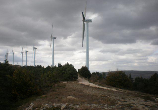 wind farm on cloudy day