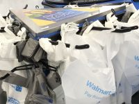 walmart checkout line Guilford banning plastic bags