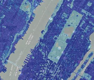 map shows impervious surfaces around new york city