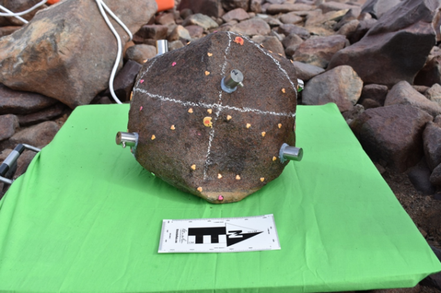 rock with sensors attached