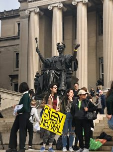 protesters at youth climate strike at columbia university