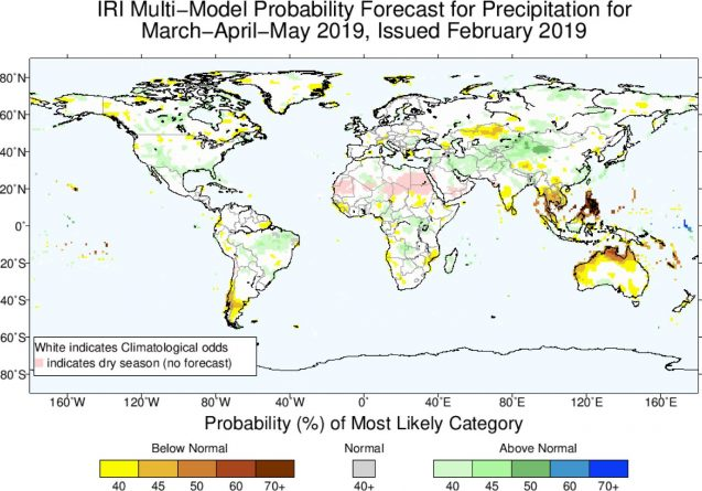 map of predicted precipitation levels over several months