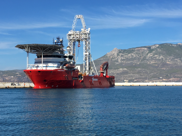 vessel Fugro Synergy at work in the Gulf of Corinth