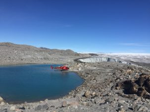 helicopter near greenland ice sheet