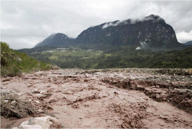 Mining pollution turns river red