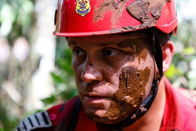 Rescue worker during the aftermath of the Brumadinho dam collapse