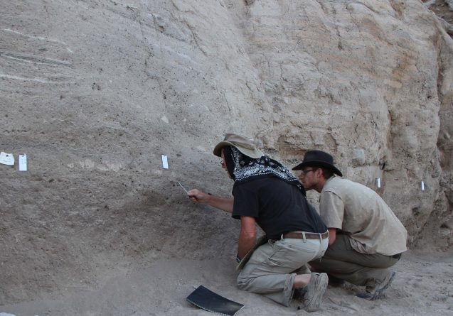 archaeologists taking samples