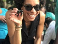 ayana johnson with baby sea turtle