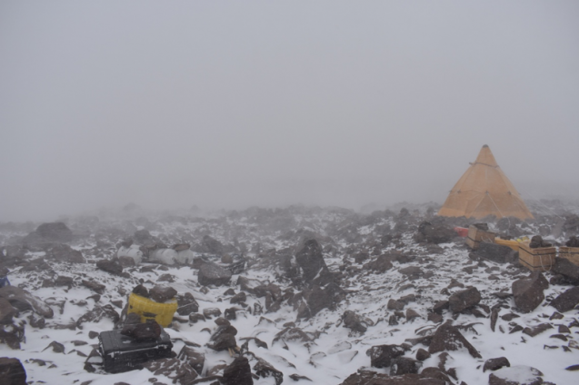 antarctic camp during wind storm