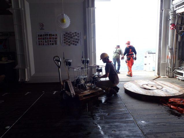 Frank Pavia prepares pumping apparatus