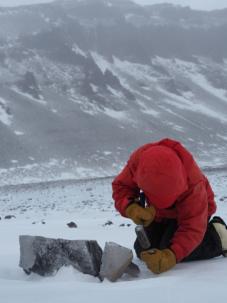 taking a sample at mullins glacier