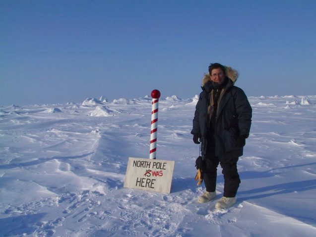 journalist Andrew Revkin on ice near the North Pole