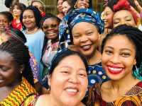 leymah gbowee and other women at conference