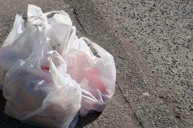 plastic grocery bags on sidewalk