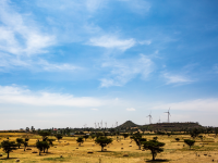 fields and wind turbines in ethiopia