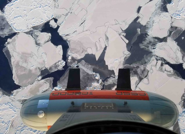 icepod over cracked sea ice