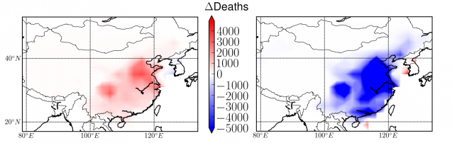 map of mortality in china under two different emissions scenarios