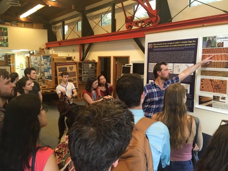 Park Williams explains to policy students how tree rings can shed light on climate history.