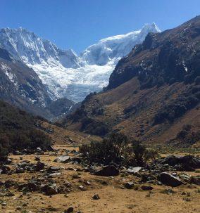 The upper Llaca valley in Peru, showing glacier.