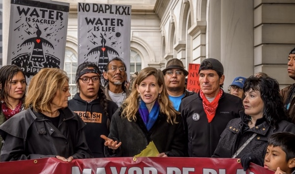 Karenna Gore speaks at a rally protesting the Dakota Access Pipeline