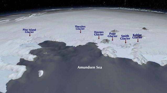 map of glaciers near the Amundsen Sea