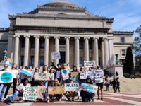 students strike in front of columbia university low library