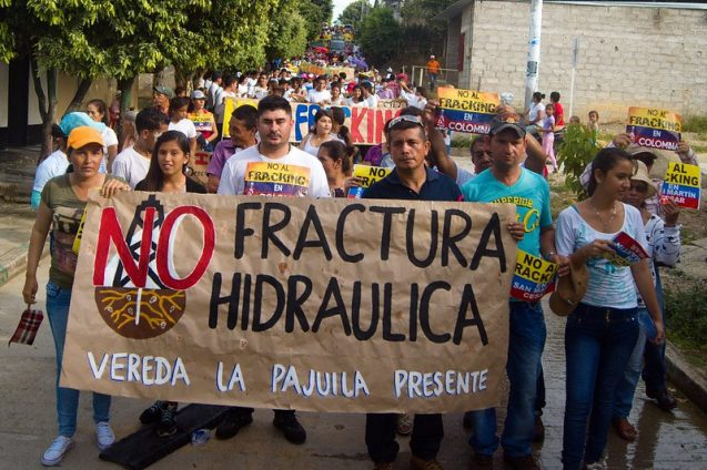 A protest against fracking in San Martín, Colombia