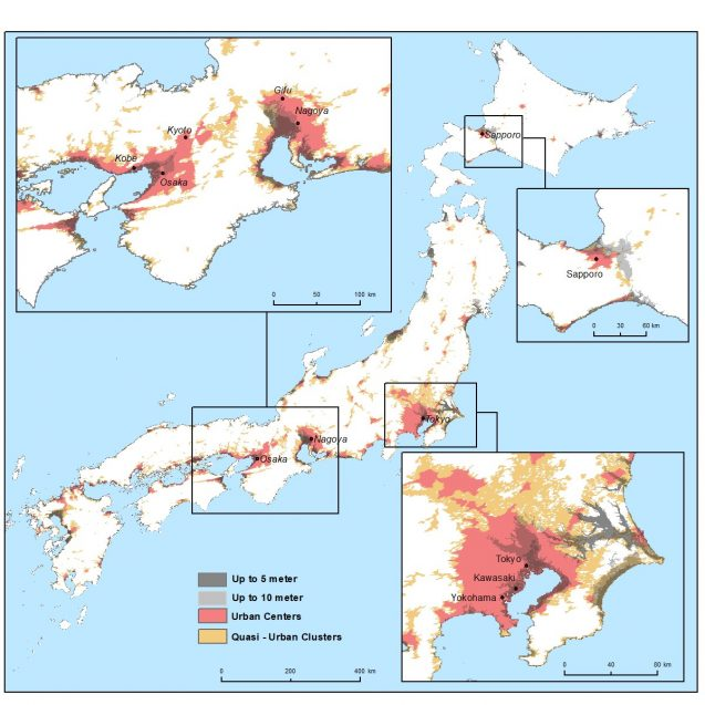 Map of Urban Areas in the Low-Elevation Coastal Zone in Japan, 2015