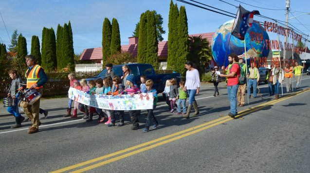 Young protestors in a parade