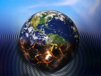 illustration of planet Earth burning