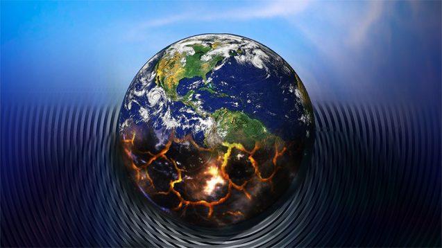 illustration of planet Earth burning