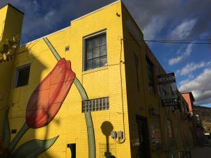 yellow building facade with tulip