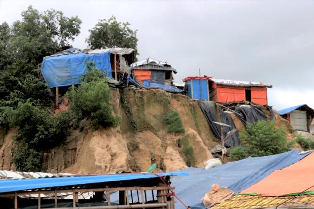 Refugee camps built in the Bangladeshi hillside