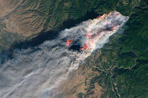 Landsat photo of the Camp Fire. NASA / Joshua Stevens