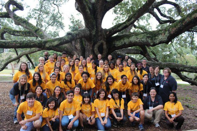 group photo under an oak tree