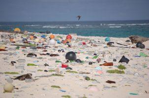 Beach strewn with plastic debris. U.S. Fish and Wildlife Service