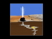 illustration of a geyser eruption