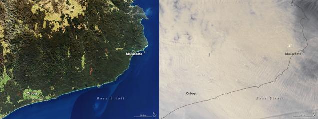 australia fires satellite imagery