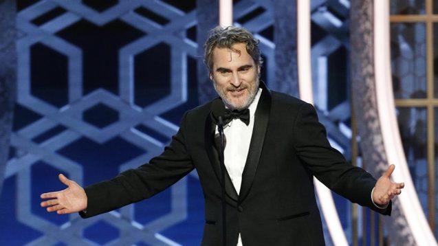 Joaquin Phoenix speaking at event