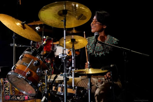 ceiba playing drums