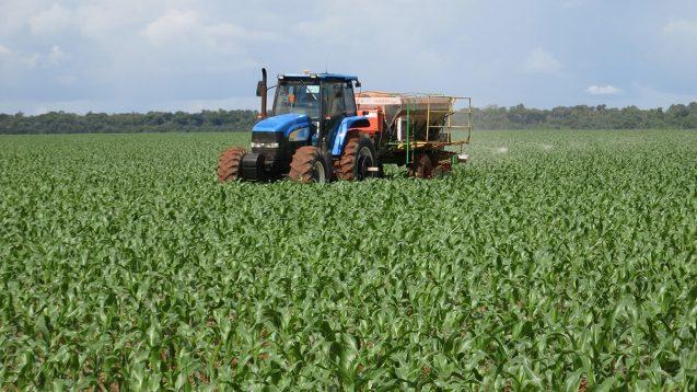 tractor in a farm field