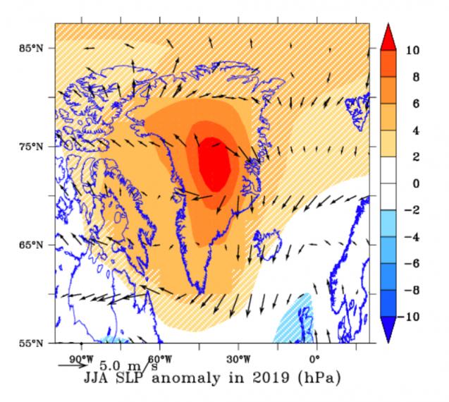 Average pressure over Greenland