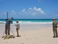 Jacky Austermann, Billy D'Andrea, and Roger Creel conducting field research in the Bahamas.