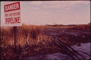 pipeline and danger sign