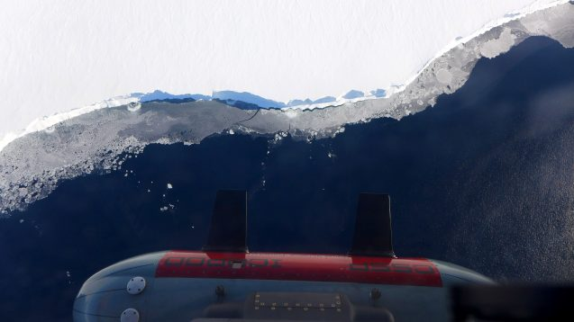 icepod instrument along ice shelf edge