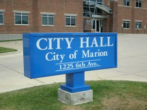 city hall sign from marion, iowa